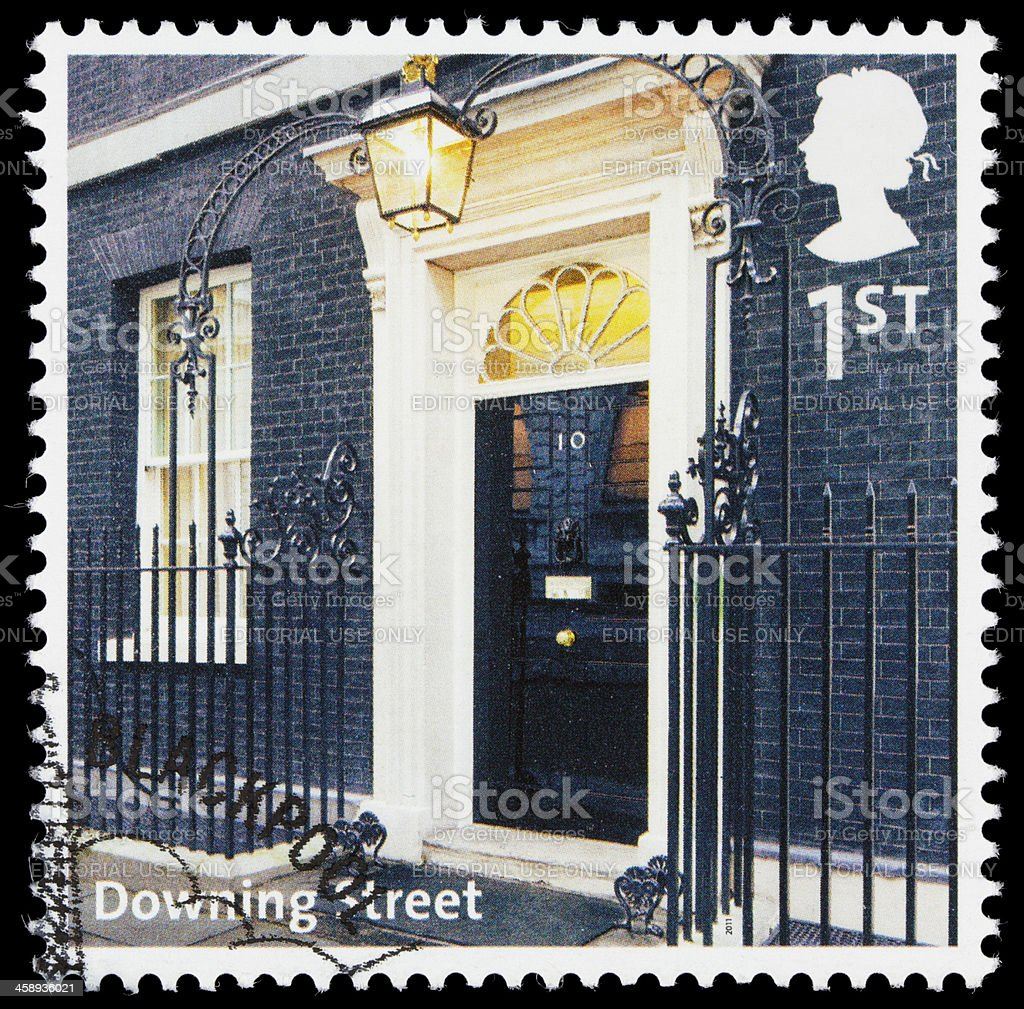 UK Number 10 Downing Street postage stamp stock photo
