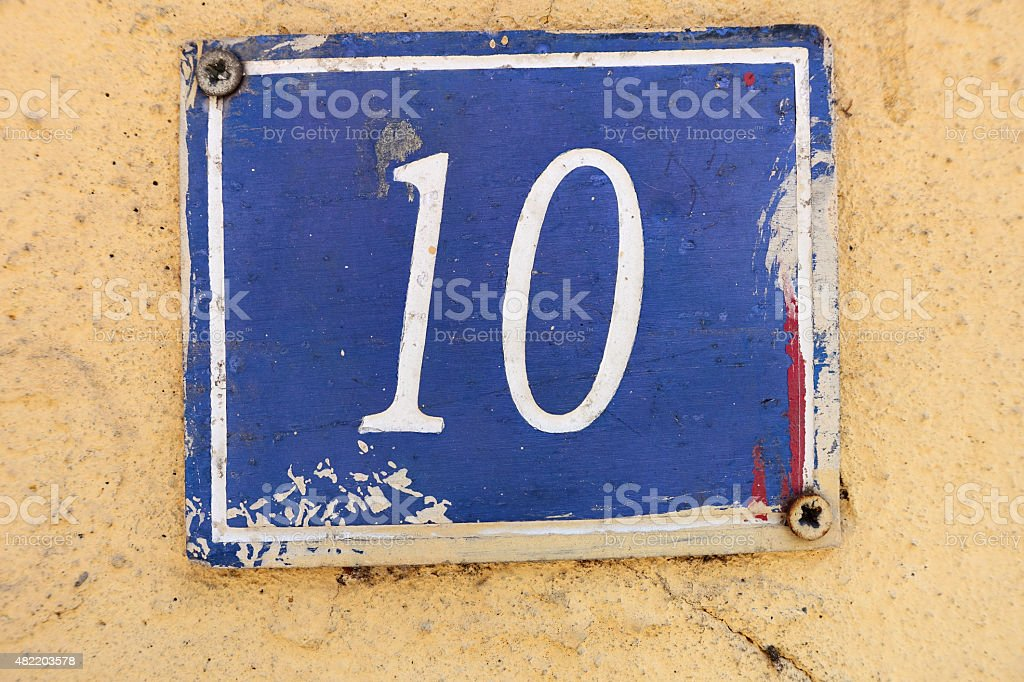 Number 10 on a wall stock photo