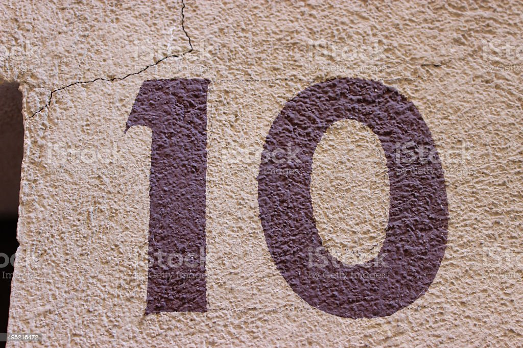 Number 10 on The Wall stock photo