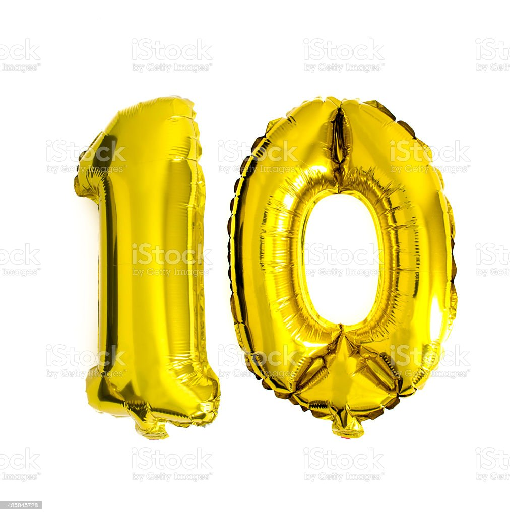 Number 10 written with foil balloons stock photo