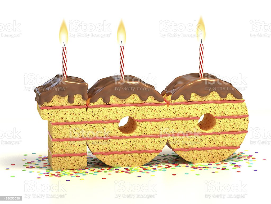 number 100 shaped chocolate birthday cake with lit candle stock photo