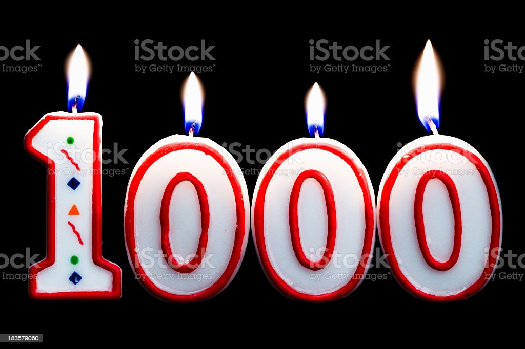number 1000 birthday candle stock photo