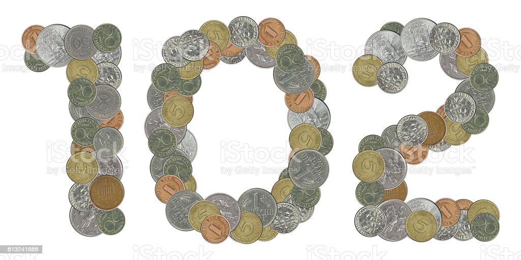 Number 102 with old coins stock photo