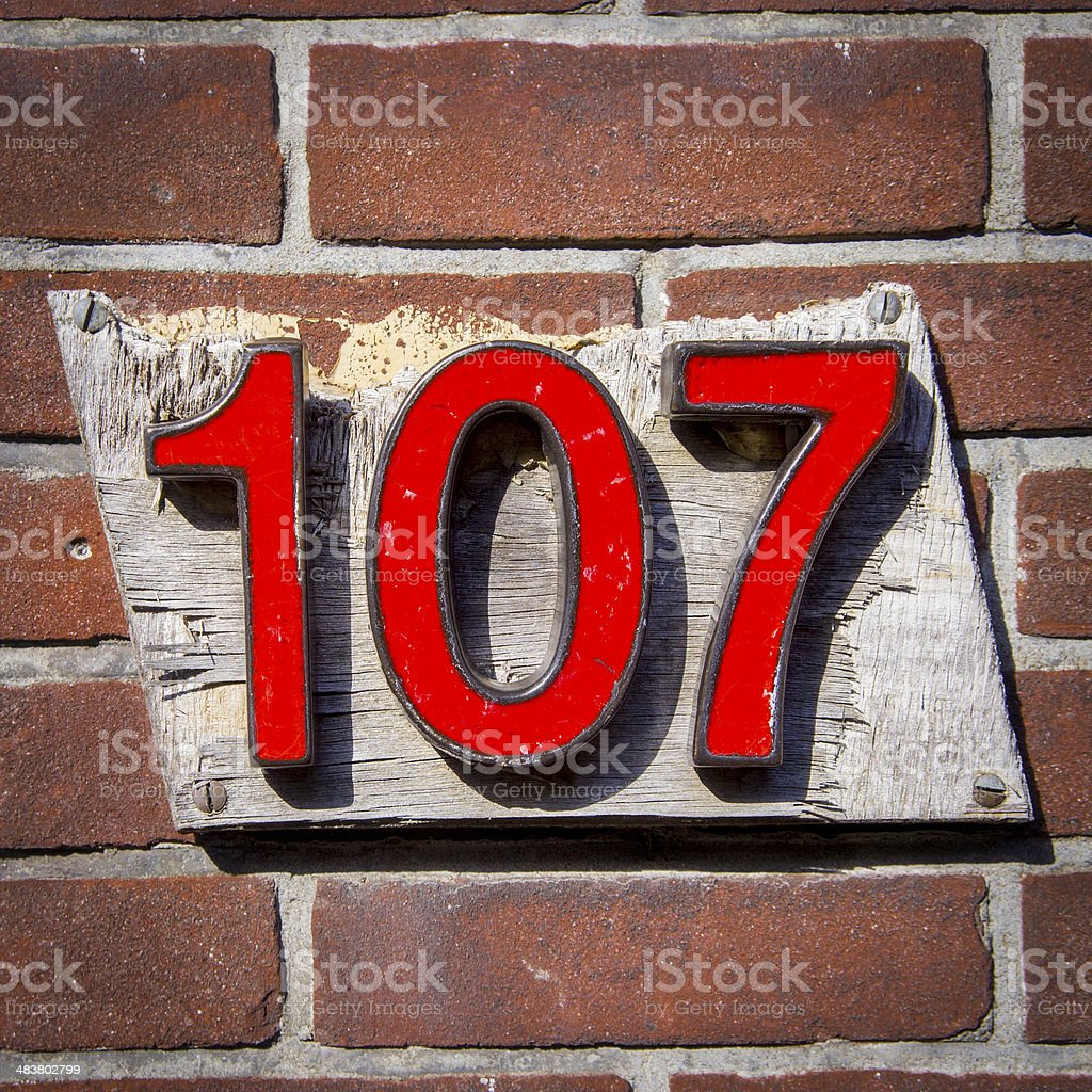 Number 107 royalty-free stock photo