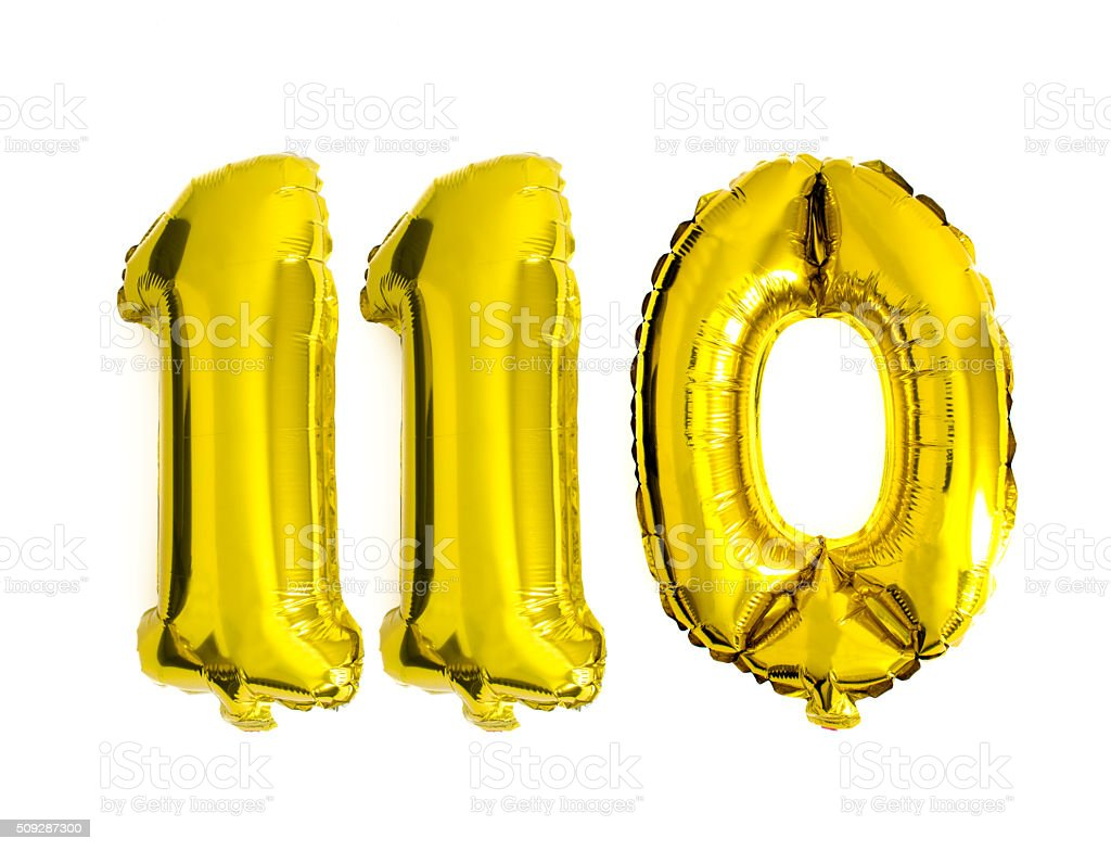 Number 110 written with foil balloons isolated on white stock photo