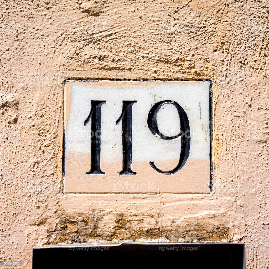 Number 119 stock photo