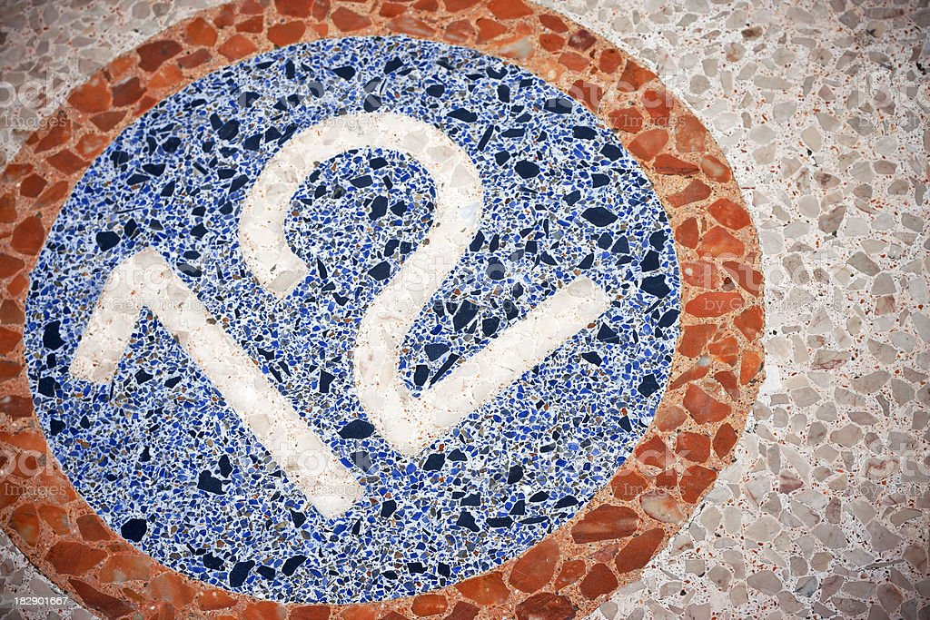 Number 12 on Exterior Mosaic Floor stock photo