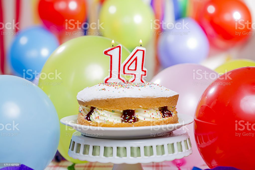 Number 14 Birthday Cake stock photo