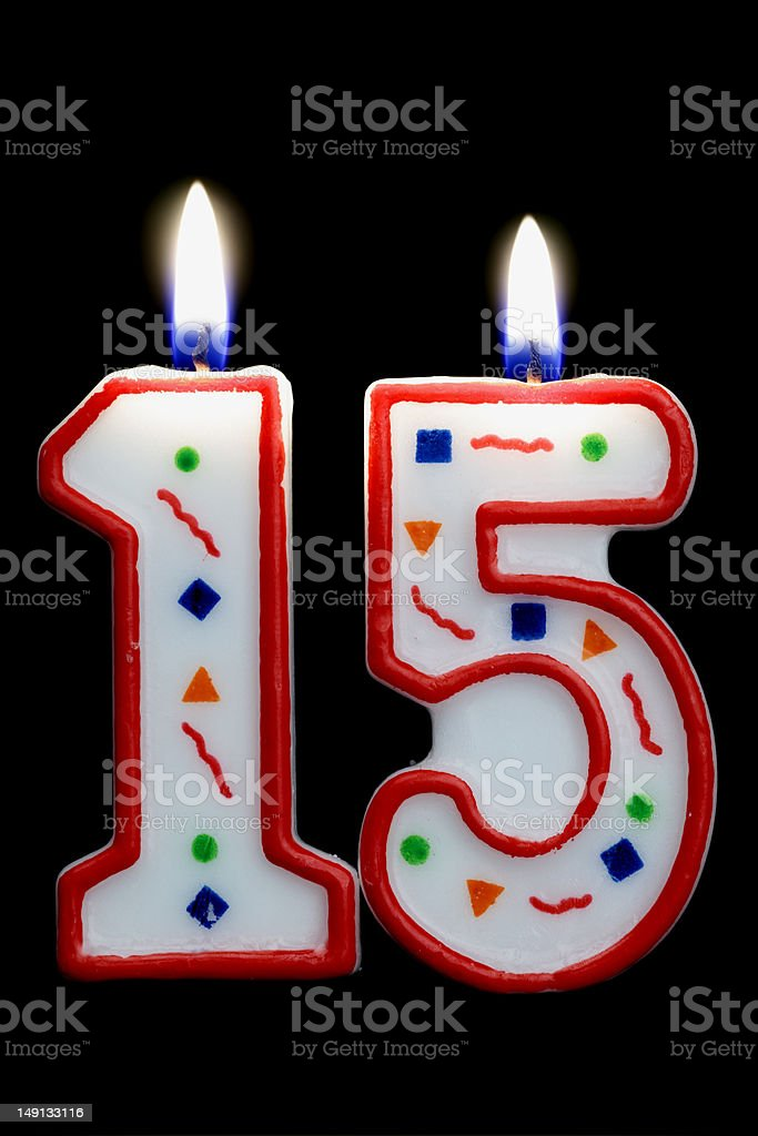 number 15 birthday candle royalty-free stock photo
