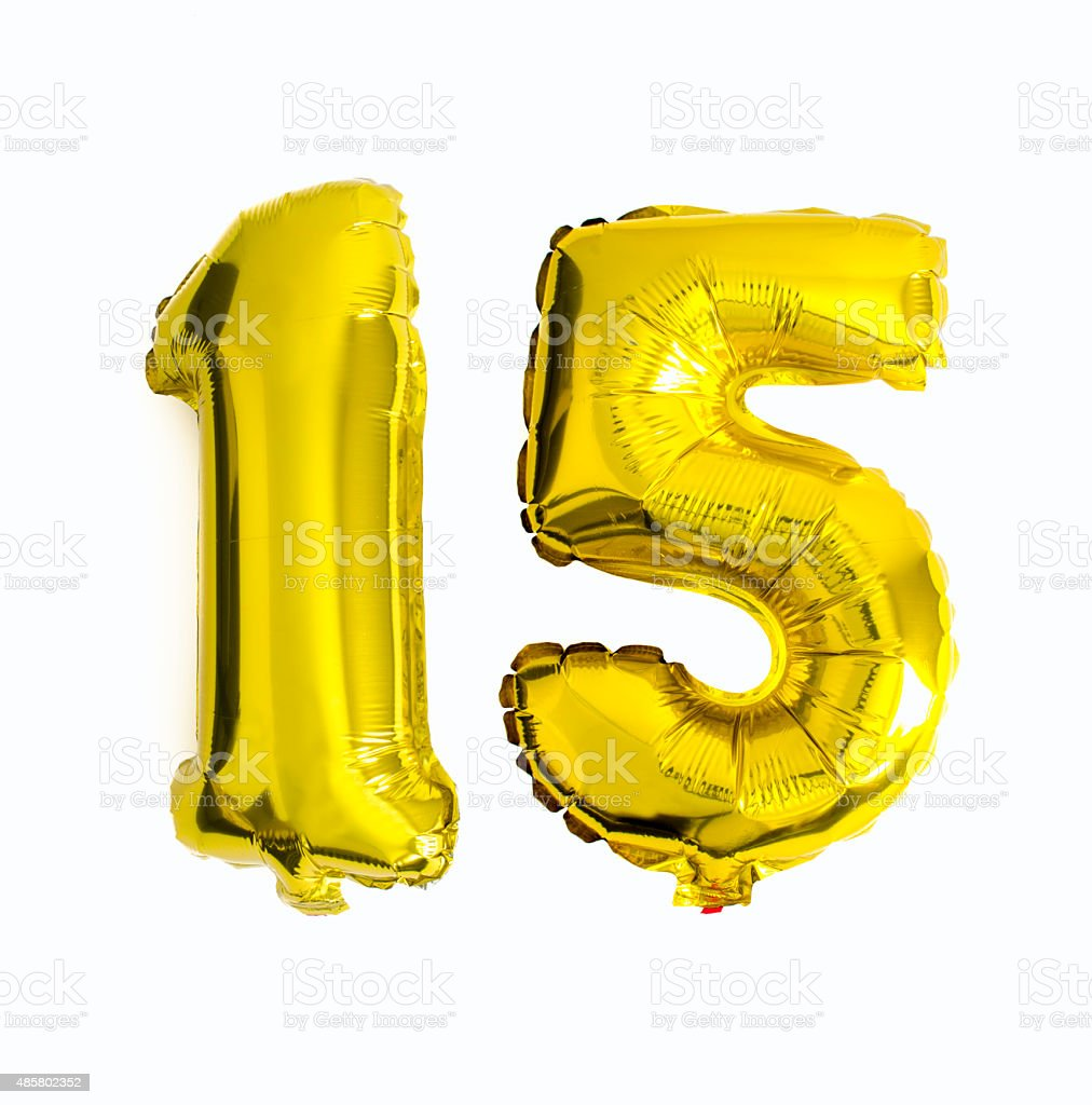 Number 15 written with foil balloons stock photo