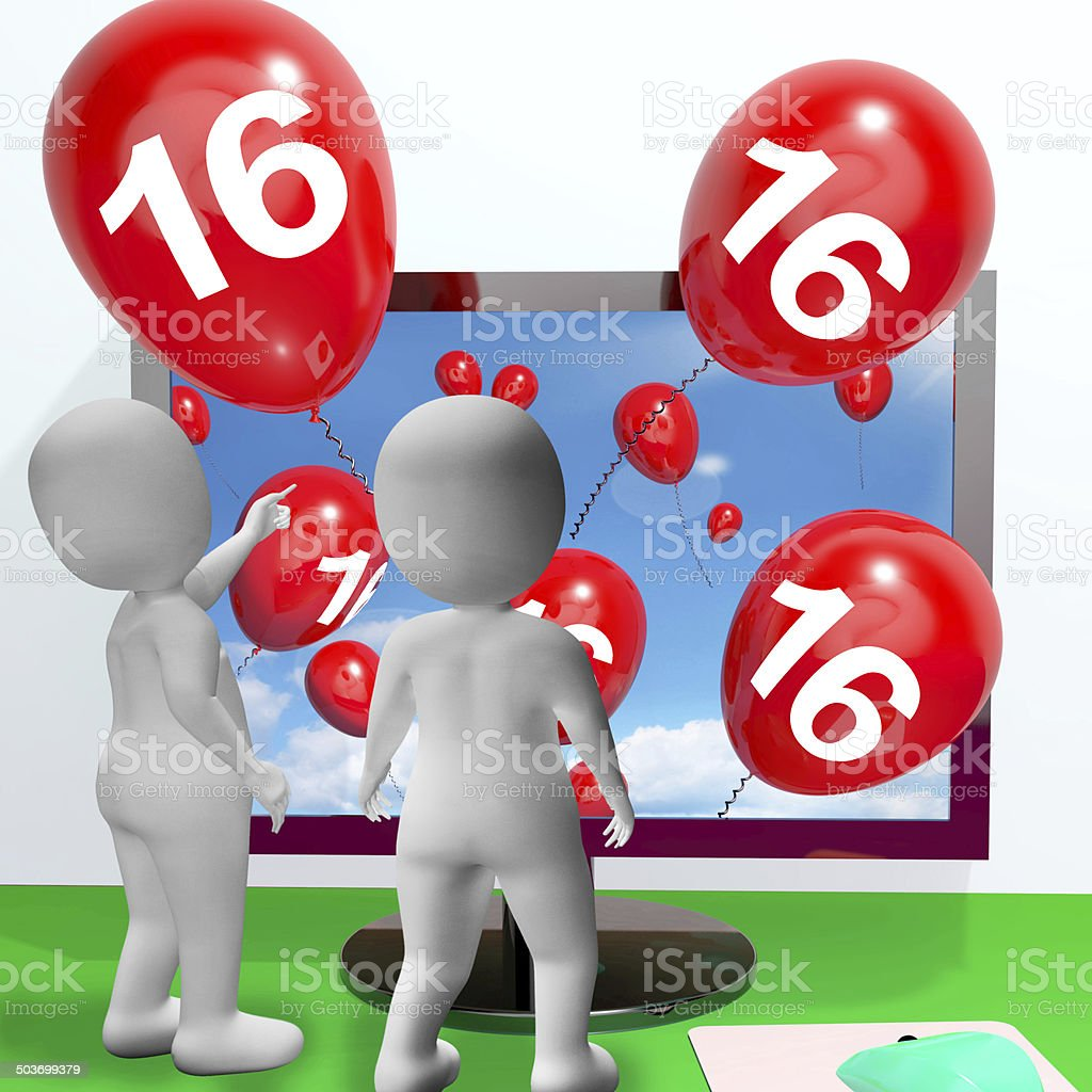 Number 16 Balloons from Monitor Show Online Invitation or Celebr stock photo