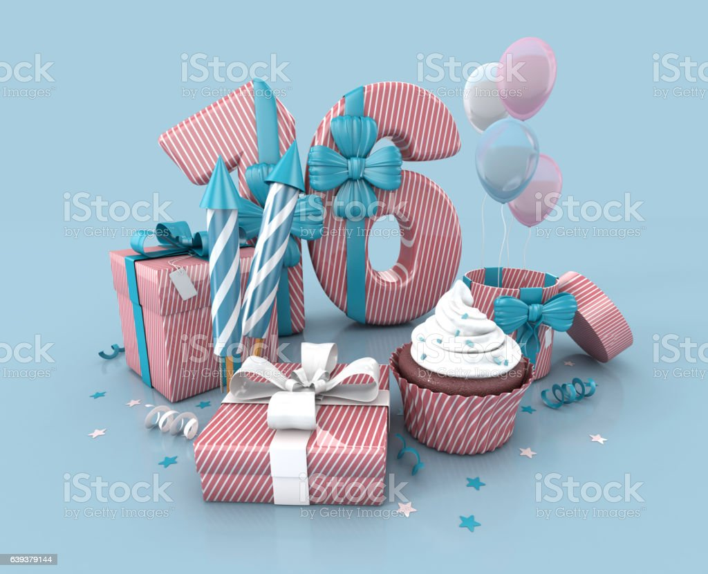Number 16 , Decorated With Ribbon, Birthday Cupcake, Rockets, Wrap Gifts. stock photo