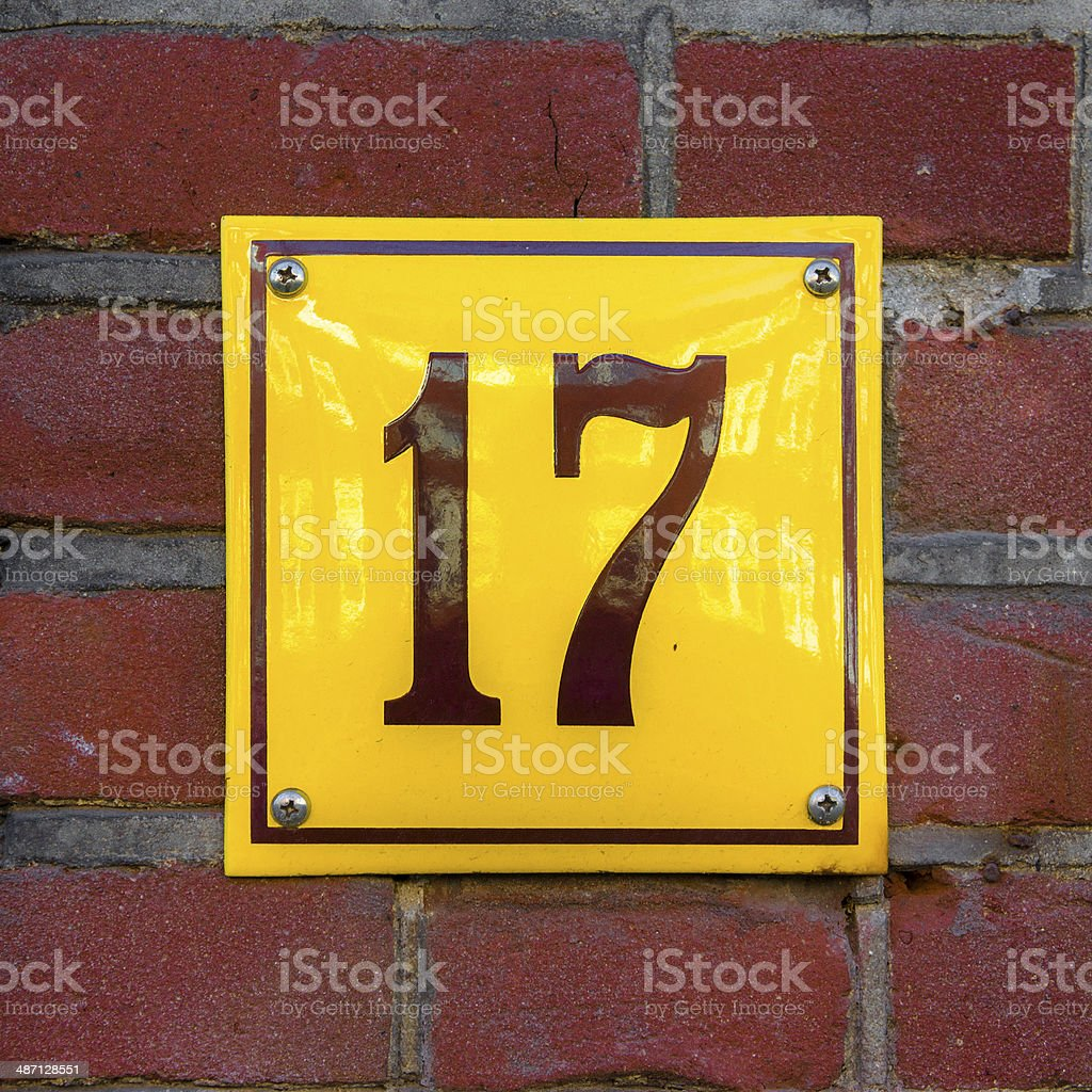 Number 17 stock photo