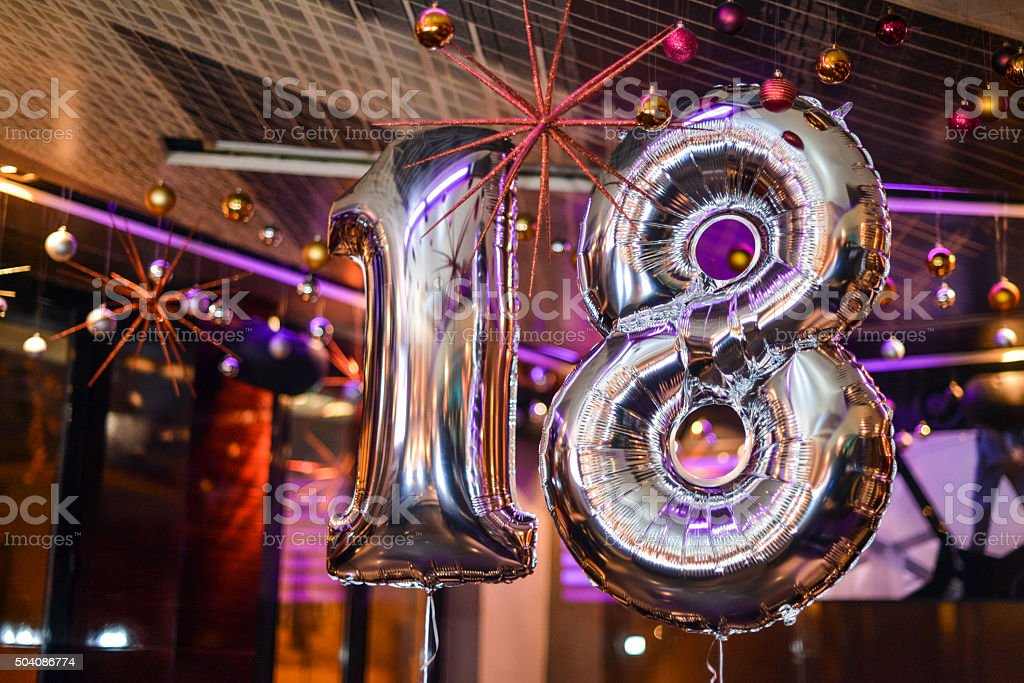 Number 18 balloons stock photo