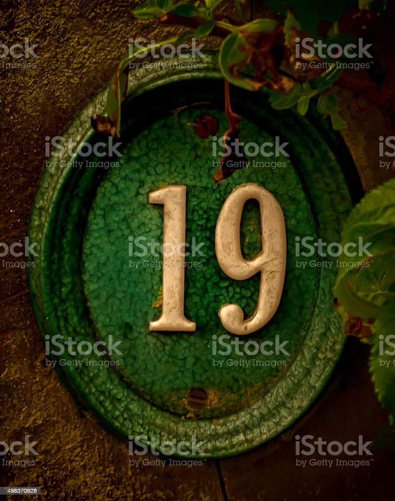 Number 19 - old fashion stock photo