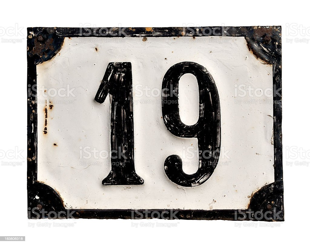 Number 19 stock photo