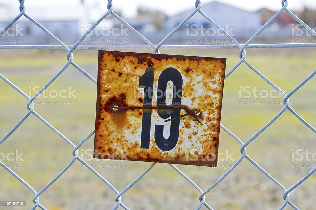 Number 19 Rusted Sign royalty-free stock photo