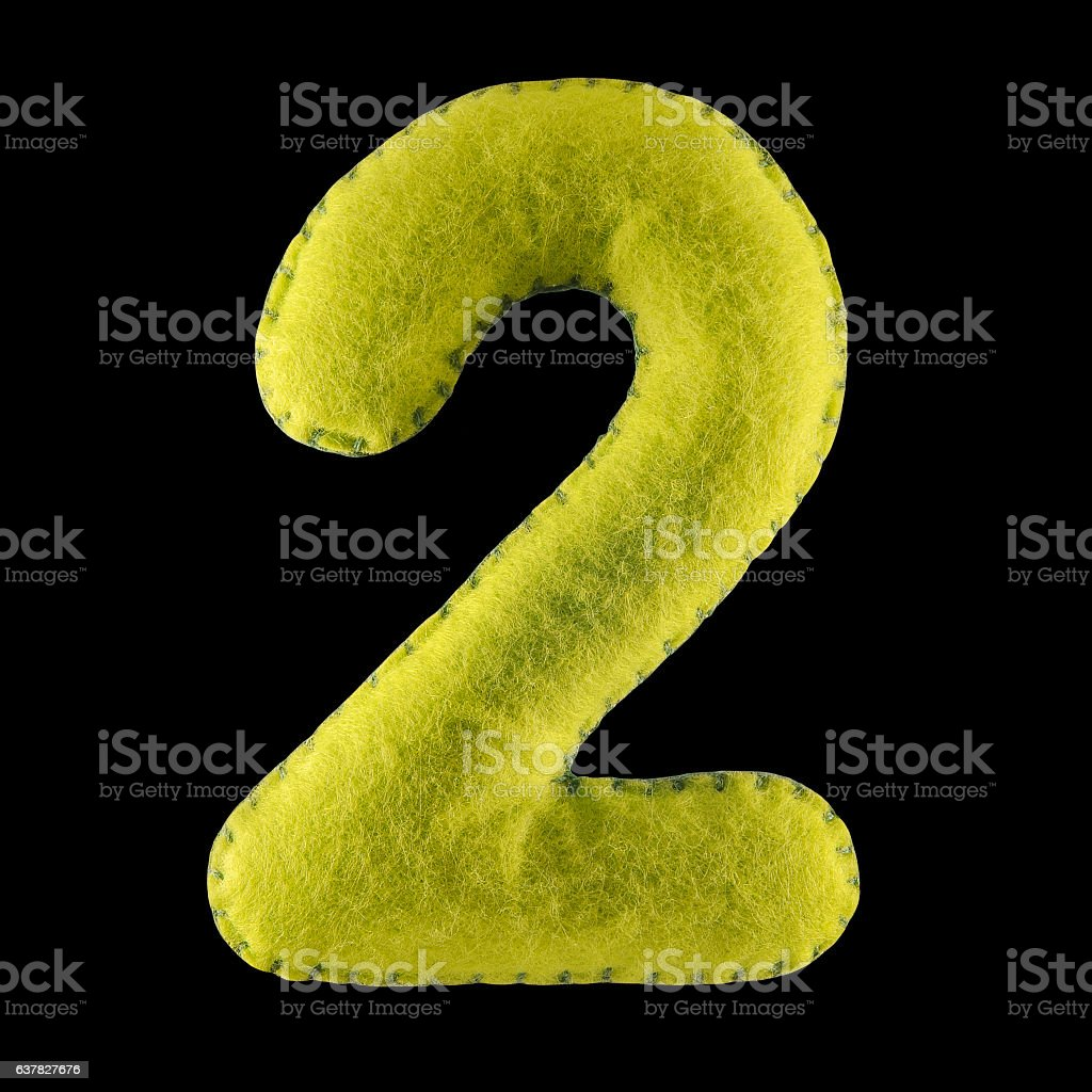 Number 2 from green felt stock photo