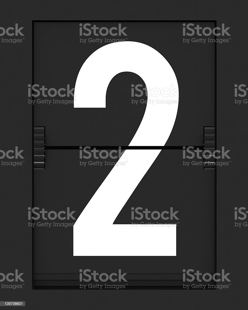 Number 2  from mechanical timetable board royalty-free stock photo
