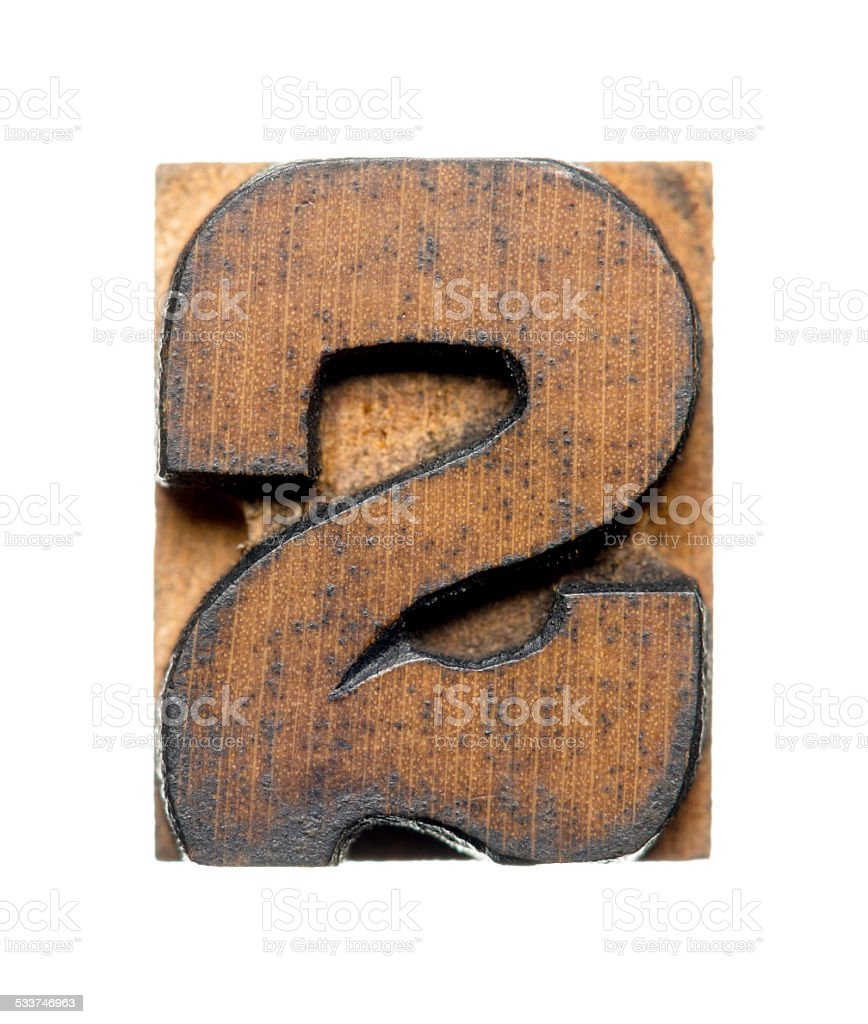Number 2 - Letterpress Letters stock photo
