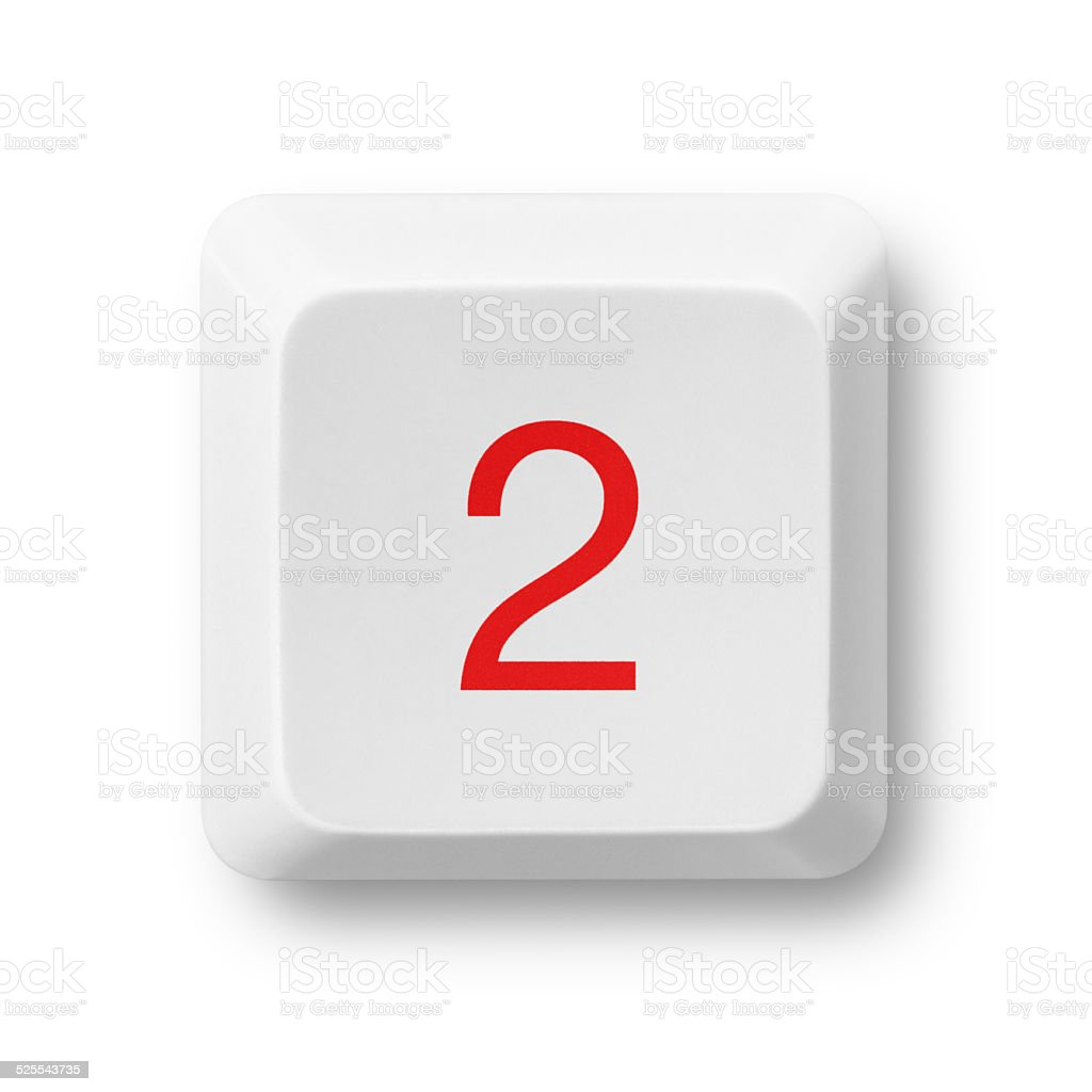 Number 2 on a computer key isolated on white stock photo