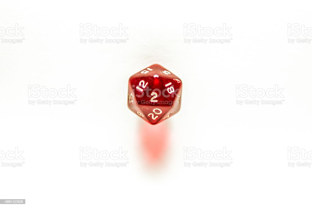 Number 2 on red twenty sided dice isolated on white stock photo