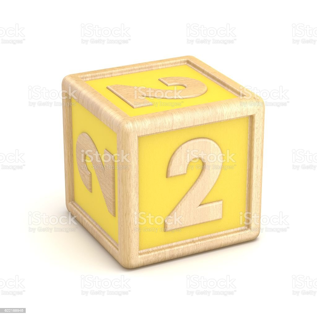 Number 2 TWO wooden alphabet blocks font rotated. 3D stock photo