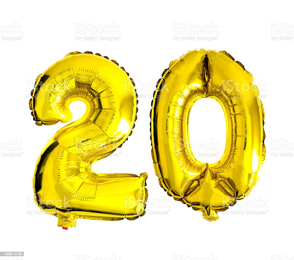 Number 20 written with foil balloons stock photo