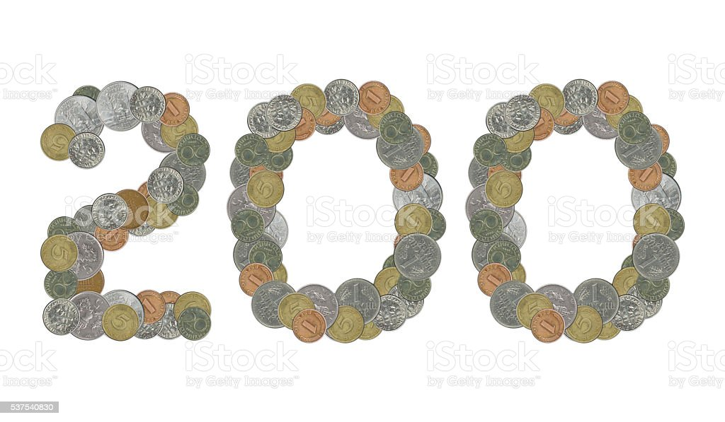 Number 200 with Old Coins stock photo
