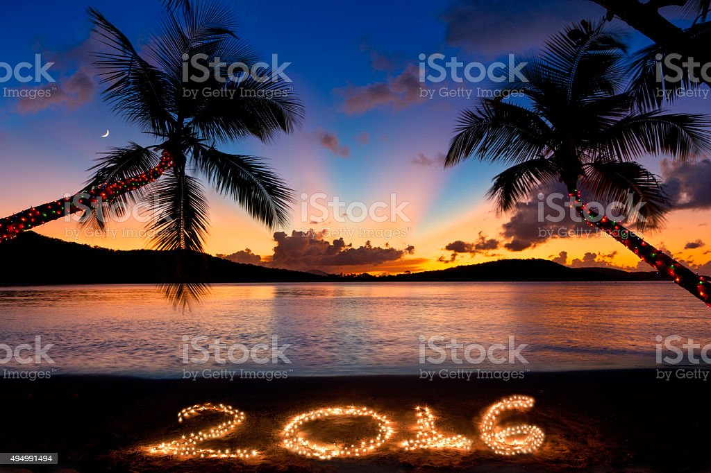 Palm Trees With Christmas Lights Pictures Part - 36: ... Palm Trees At Sunset Stock Photo · Number 2016 Made With Christmas  Lights At A Sunset Beach Stock Photo ...