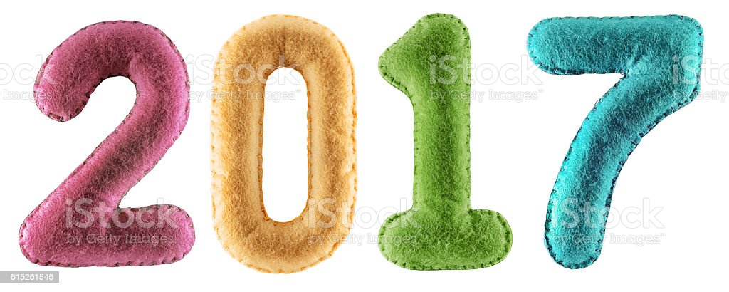 Number 2017 from colorfull felt isolated on white background stock photo