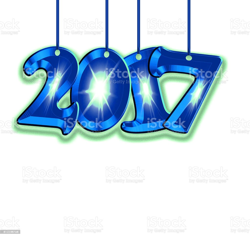 Number 2017 on a white background stock photo