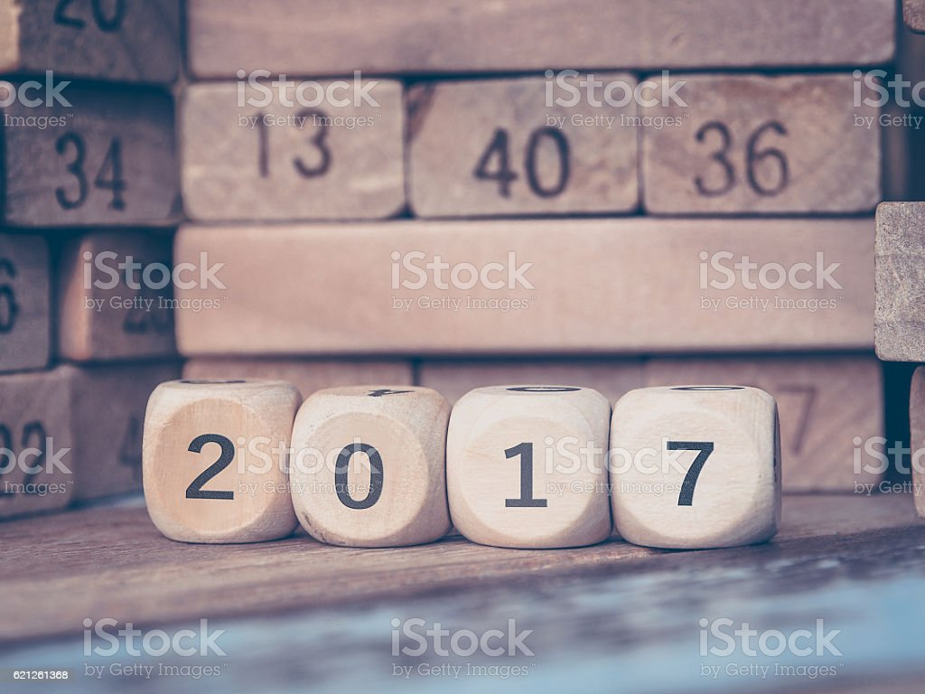 Number 2017 with new year on Toy number blocks stock photo