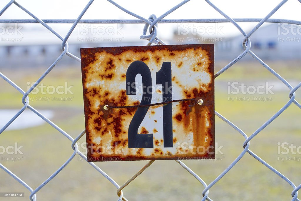 Number 21 Rusted Sign royalty-free stock photo