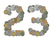 number 23 with old coins