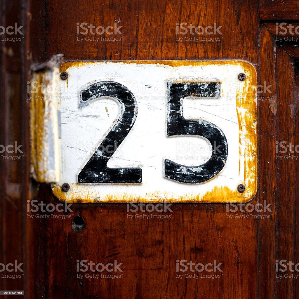 Number 25 stock photo