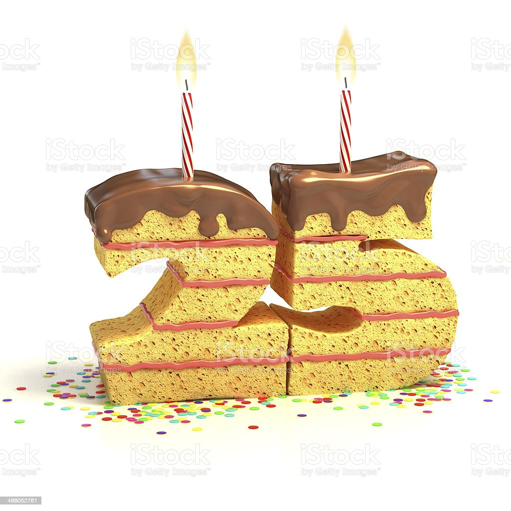 number 25 shaped chocolate birthday cake with lit candle stock photo