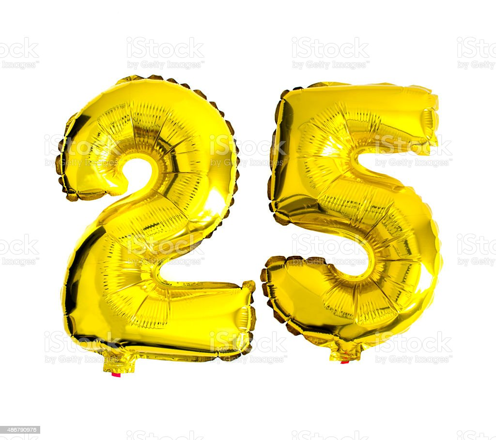 Number 25 written with foil balloons stock photo