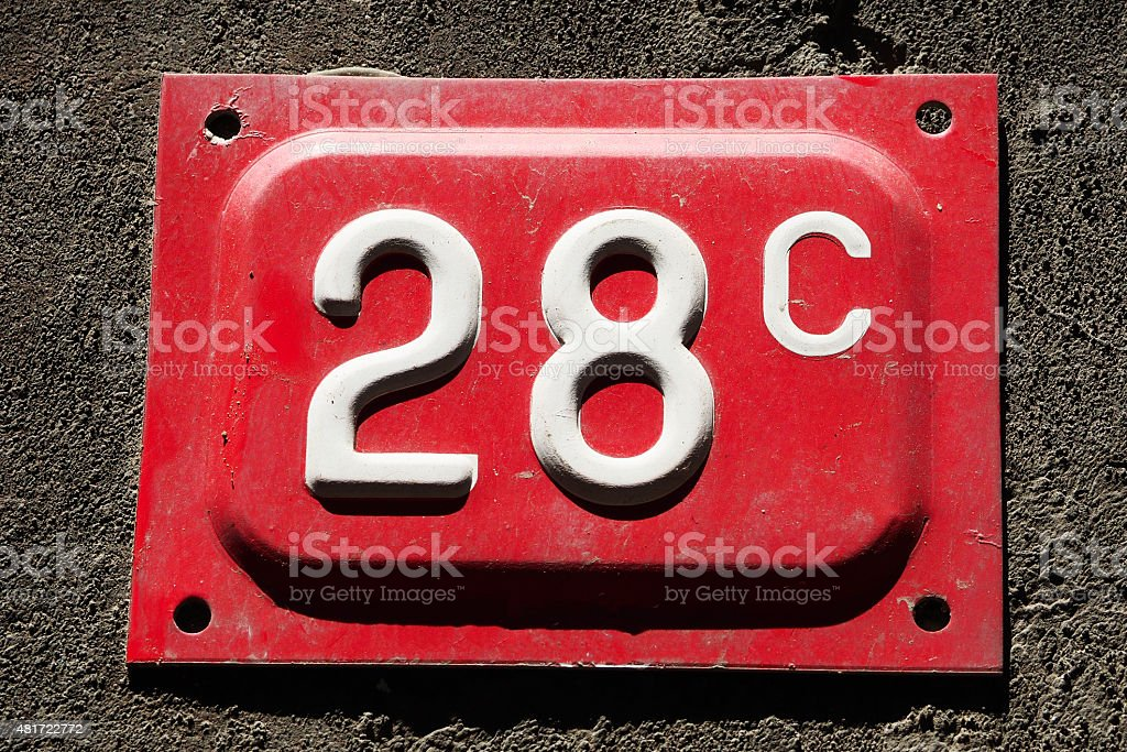 Number 28 on a wall stock photo