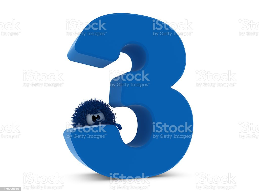 Number 3 and Sphefur royalty-free stock photo