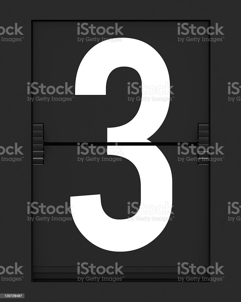 Number 3  from mechanical timetable board royalty-free stock photo