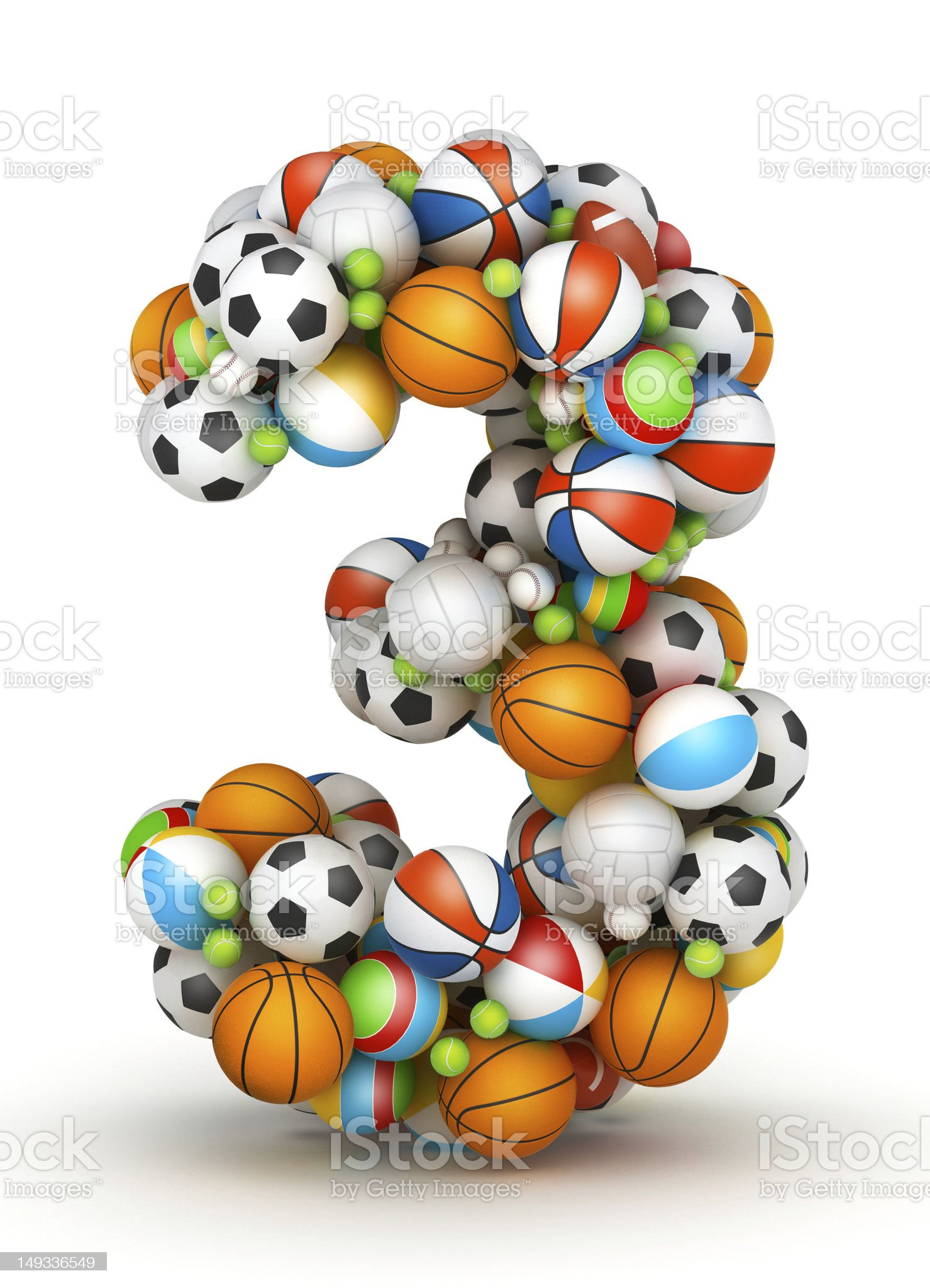 Number 3, gaming balls alphabet royalty-free stock photo