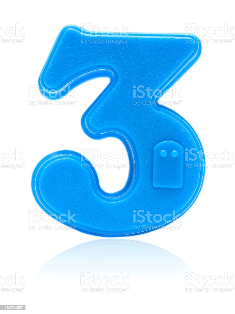 Number 3 isolated on white background royalty-free stock photo
