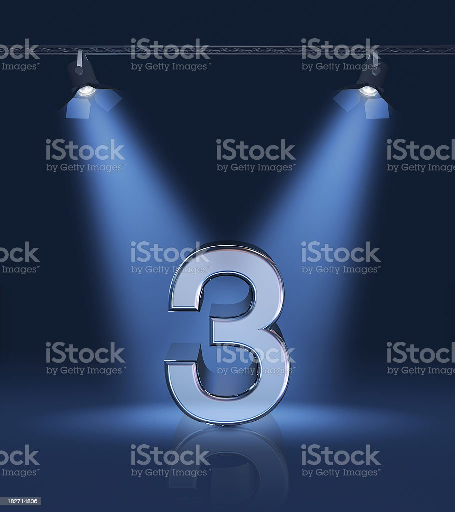3D number 3 lit up with blue lights royalty-free stock photo