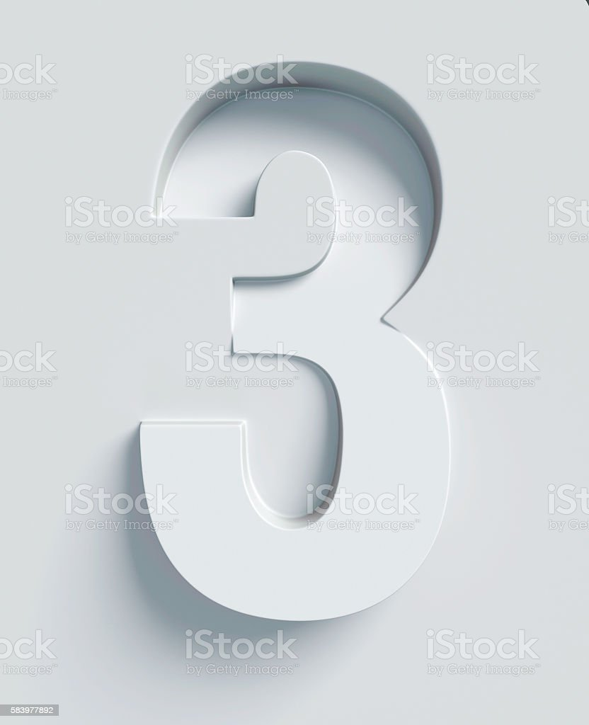 Number 3 slanted 3d font engraved and extruded from surface stock photo