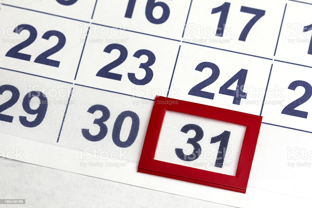 Number 31 bordered by red in calendar royalty-free stock photo