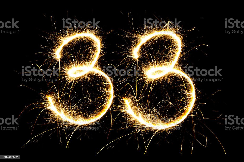 Number 33 made with sparklers stock photo