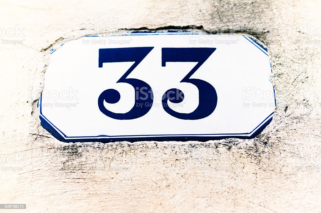 Number 33 Street Address Tile  On White Wall stock photo