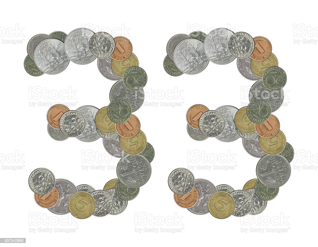 number 33 with old coins stock photo