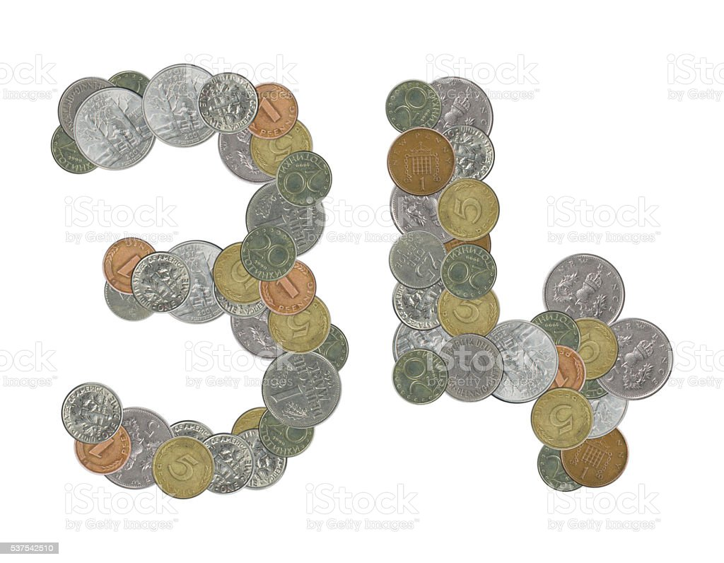 number 34 with old coins stock photo